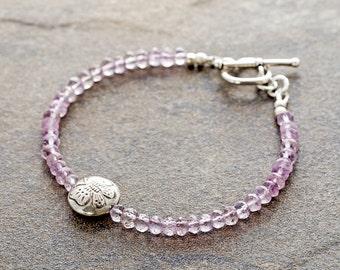 Delicate pink amethyst bracelet, rose de france amethyst, Bali sterling silver butterfly bracelet, heart clasp, February birthstone gift