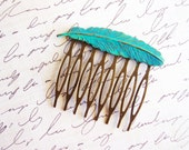RESERVED FOR KELLEY // Turqoise Patina Feather Hair Comb, Teal Blue Feather Hair Accessory, Nature Inspired Antique Bronze Bird Hair Comb