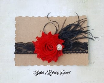 Red Black headband. Valentines headband. Valentines baby. Valentines day. Red headband baby. Lace headband. Fancy headbands. Kids headbands