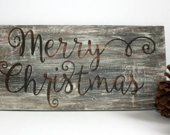 Merry Christmas Sign Rustic Christmas Sign Merry Christmas