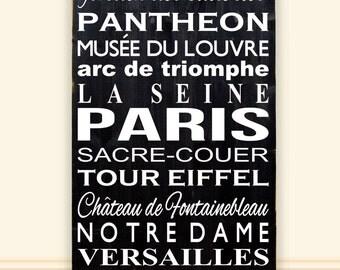 "Paris Bus Scroll Vinyl Wooden Subway Art Sign 18""x36"".  Paris Bus Scroll, Paris Decor, French Signs, Home Decor, Detination Sign, Wall Art"