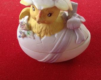 Vintage Mini LEFTON Chick egg candy dish two-piece porcelain