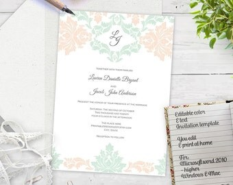 Mint and peach Damask wedding invitation template-diy wedding invitation template-printable-Instant download-elegant  damask invites| T010