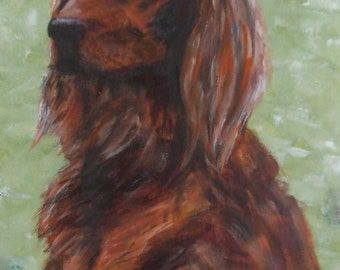 Red Setter - signed original oil painting on canvas