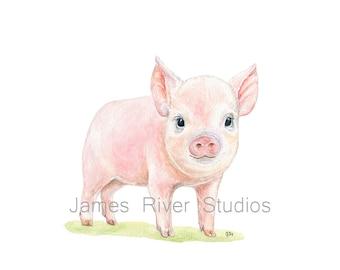 Pig Art Pig Painting Pig Print Pig Watercolor Painting Animal Watercolor Print Pig Nursery Art Pig Baby Pig Pink Piglet Farm Animal Print.