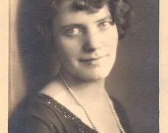 Pretty Lady Hopeful Antique Photograph