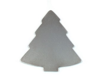 10 Aluminum Christmas Tree Ornament Blanks, 18 Gauge, Tumbled for Hand Stamping