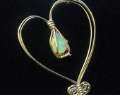 Sterling Silver and Ethiopian Opal Caged Heart Necklace