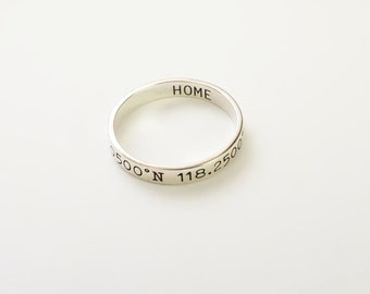 30% OFF Skinny Coordinates Ring in Sterling Silver • Personalized Stackable ring • Custom Coordinates Ring • Longitude Latitude Ring RM22F41