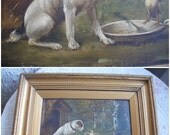 SOLD ~SOLD ~SOLD ~Antique dog painting, oil on canvas, A J Thomas Welsh artist, dated 1902