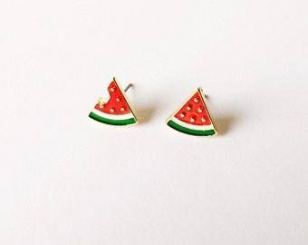 Watermelon earrings - Summer earrings - Fashion earrings - Post earrings - Stud earrings - Fruit earrings - Mismatched earrings