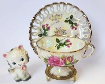 1960s Japanese Lustreware Tea Cup and Latticework Saucer ~ Magenta Roses ~ Vintage Tea Party ~ Lusterware Teacup ~ Retro Kitchen Decor