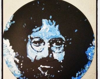 Record Art, Jerry Garcia Grateful Dead on Vinyl Record by Matt Pecson, MADE TO ORDER, Pop Art Painting, Painted Vinyl Record, Painted Record