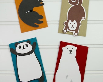 Mini Cards with Envelopes, Zoo Animal Mini Cards, Gift Tags, Gift Enclosures, Mini Cards, Mini Note Card Set, Lunch Box Notes, Place Cards