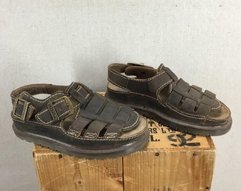 Vintage Women's Dr Martens Brown Leather Sandals Sz 6US Made in England