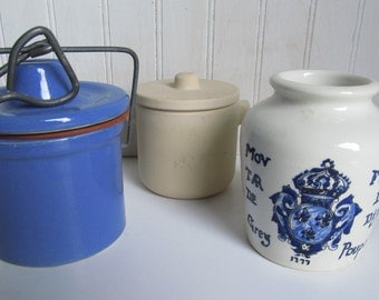 """Stoneware Crocks, Ceramic, French Dijon, Cheese Crock, Blue and White, 3-Set, 4"""" Made in France"""