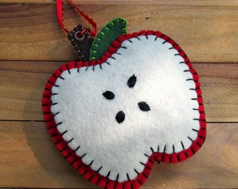 Red Apple Wool Felt Ornament Hanger