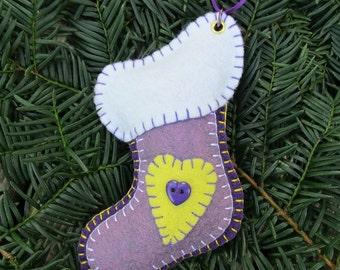 Wool Felt Stocking Ornament in Purples