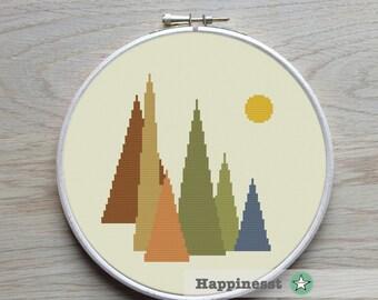 Cross stitch pattern mountains, geometric pattern, modern cross stitch,  PDF ** instant download**