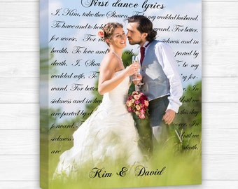 Photo Canvas Personalized With Words, First dance canvas, wedding photo with vows, Wedding Song Lyrics with photo, Wedding Canvas Anniversar
