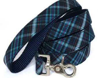 Blue Plaid Dog Leash in Navy, Sky Blue and Plum - Preppy Dog Leash - Tartan Dog Lead - Boy Dog Leash