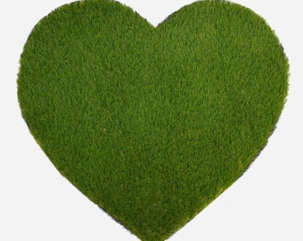 Heart Synthetic Grass Doormat | Rug | Wall Art Decor