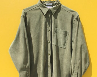 90's Army Green Button Down
