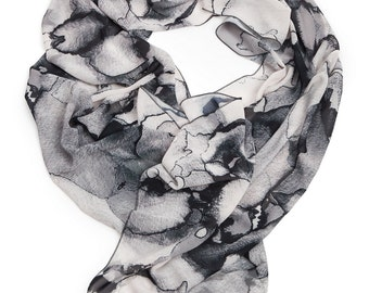 Evening scarf, Wearable art, Long soft scarf, Monochrome scarf, Designer accessory, printed scarf, unique gift, gift for her