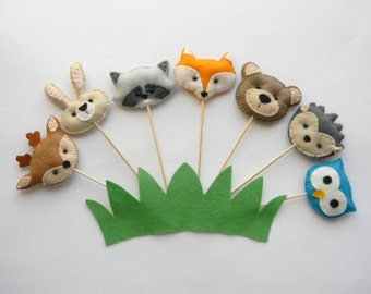 Set -7 Woodland Animal Cupcake Topper, Woodland Cake Topper , Woodland Party Decor,  Woodland Baby Shower Decorations, Forest Animal  Tags