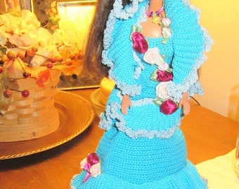 1980's barbie doll Hand crochet Turquois Blue gown