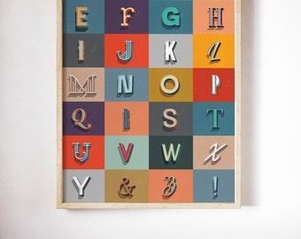 Retro Alphabet Print