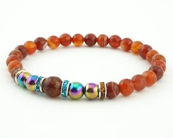 Men's bracelet- Agate & Hematite