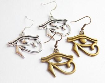 Eye of Ra Earrings Egyptian earrings Eye of Horus Earrings African Jewelry Afrocentric Earrings Silver Bronze Dangle Amulet earrings Wadjat