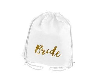 Personalized Bride Cinch Back Pack - Back Pack - Overnight Bag - Drawstring Back pack, Sports Bag, Bridemaid Gifts