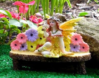 Fairy Garden Bench, Indoor or Outdoor Bench, Garden Bench, FLOWERY BENCH, Garden Accessory, PROTECTED Against Fading in Sunlight