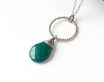 Emerald necklace, Green stone necklace, May birthstone necklace, Green drop necklace, Silver necklace, Gemstone necklace, Wire wrapped ring