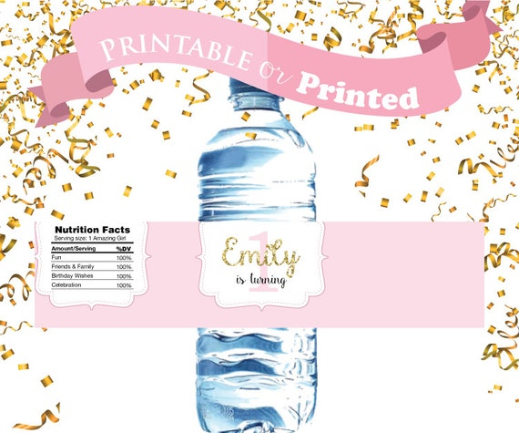 Birthday Bottle Labels Printable or Printed. Pink and Gold  Girl First Birthday Party Water Bottle Labels