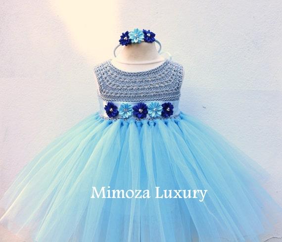SALE size 3-6m, Ready to ship, Blue Flower girl dress tutu dress,  bridesmaid dress, green princess dress, crochet top tulle