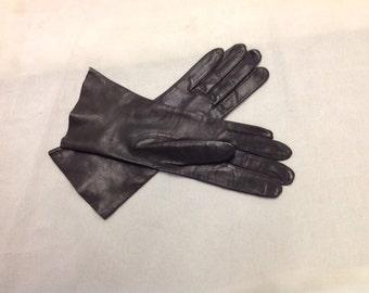 Vintage Leather Gloves 1980s Kid Leather, Size 7 Women's, Brown/ Grey, Unworn