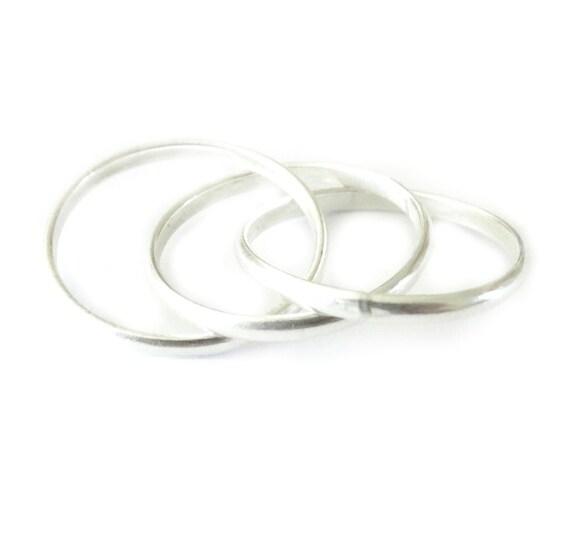 sterling silver interlocking ring 3 thin silver by