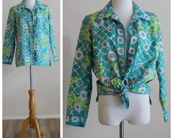 Vintage 60's 70's Turquoise Jade Daisy MOD Abstract Women's Blouse Tunic Top Shirt by Alex Coleman of California