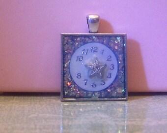 Handmade bezel necklace pendant keychain steampunk glitter clock watch face star