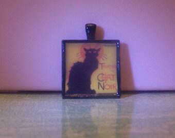 Handmade bezel pendant necklace keychain Le Chat Noir black cat jewelry Steinlen French