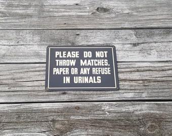 Vintage Metal Restroom Sign