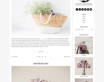 "Premade Blogger Template - Fashion Blogger Template - Blog Design -  Minimalist Blog Template - Blogger Blogspot Template ""Stellar"""