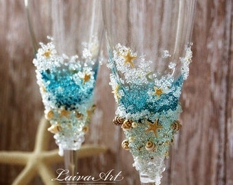 Personalized Beach Wedding Champagne Glasses Wedding Champagne Flutes Wedding Toasting Flutes