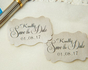 Mink Printed Save The Date seals. Custom printed Wedding stickers. personalised Pearlised Envelope seals. Wedding favours Vintage weddings