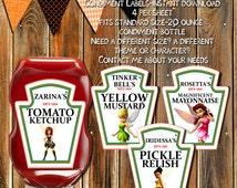PIRATE FAIRIES Condiment Labels-Ketchup Labels-Zarina-Tinker Belle-Rosetta-Iridessa-Party Labels-Ketchup Labels-Stickers-Bottle Labels