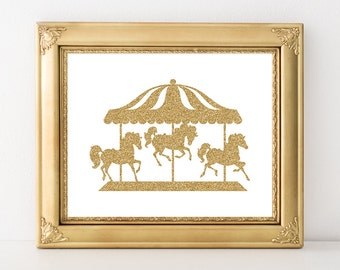 Carousel Print 8x10 Instant Download Nursery Carousel Printable Art Carousel Horse Print Gold Nursery Decor Gold Glitter Playroom Decor