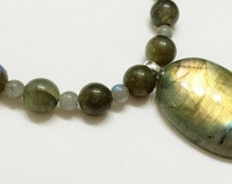 Labradorite Stone Bead Necklace - 19.5 inches long - Magnetic Clasp - Bright flash